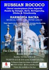 The Harmonia Sacra choir will be performing a selection of Russian works in Bristol on Sunday 3rd July.